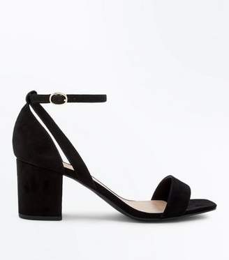 15061e2cbaf New Look Wide Fit Black Suedette Square Toe Heeled Sandals