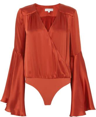 Caroline Constas Bell-Sleeved Satin Bodysuit