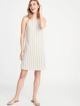 Old Navy Striped Linen-Blend Square-Neck Shift Dress for Women