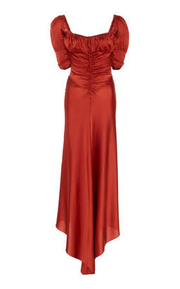 Alexis Noerene Ruched Tie-Front Silk Maxi Dress Size: S