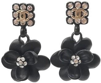 Black Resin & Crystal Flower Dangle Piercing Earrings