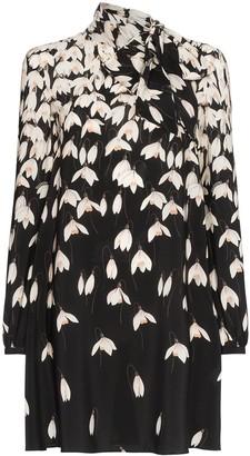 Valentino Floral Print Scarf Neck Silk Mini Dress
