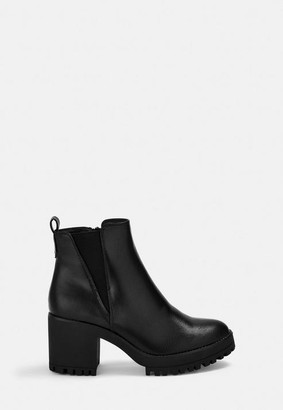 Missguided Faux Leather Chunky Chelsea Ankle Boots
