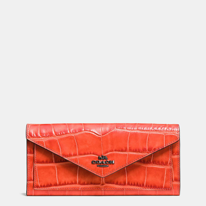Coach   COACH Coach Soft Wallet In Croc Embossed Leather