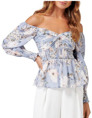 Forever New Kimmy Knot Front Smock Bardot Blouse