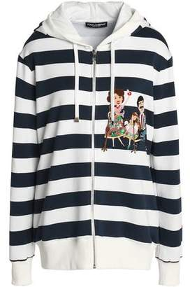 Dolce & Gabbana Appliquéd Striped French Cotton-Terry Hooded Sweatshirt