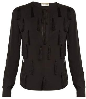 Saint Laurent Tasselled Front Tie Neck Blouse - Womens - Black