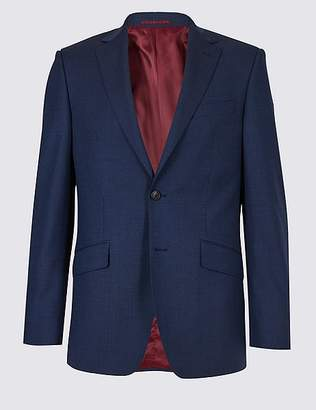 Marks and Spencer Indigo Textured Regular Fit Wool Jacket