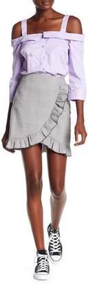Romeo & Juliet Couture Glenplaid Faux Wrap Skirt