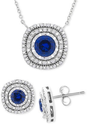 Macy's 2-Pc. Set Lab-Created Sapphire (2 ct. t.w.) & White Sapphire (1/2 ct. t.w.) Pendant Necklace & Stud Earrings Set in Sterling Silver (Also in Lab-Created Ruby)