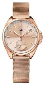 Tommy Hilfiger Rosegold Stainless Steel Chronograph Mesh Bracelet Watch