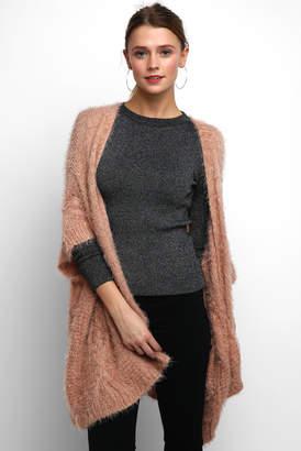 Adrienne Vittadini Eyelash Cable Knit Kimono