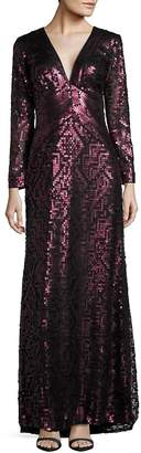 Tadashi Shoji Women's Long Sleeve Sequined Empire Waist Gown