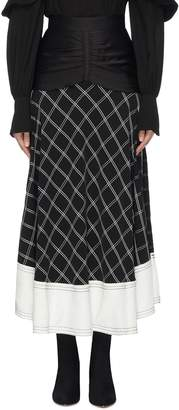 Self-Portrait Ruched waist panel windowpane check midi skirt