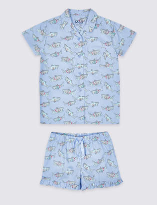 Marks and Spencer Pure Cotton Woven Short Pyjamas (3-16 Years)