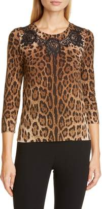 Dolce & Gabbana Lace Inset Leopard Print Wool Blend Sweater