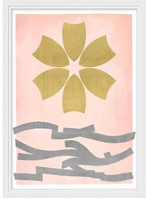 Pottery Barn Teen Gold Leaf Flower Framed Art, white frame, 13&quotx18&quot