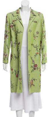 Oscar de la Renta Embroidered Wool Coat