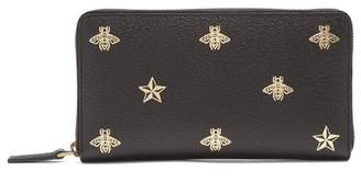 Gucci Bee Print Zip Around Leather Travel Wallet - Mens - Black Multi