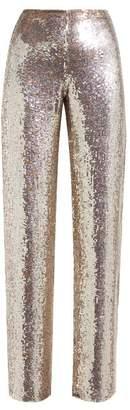 Ashish Sequin Wide Leg Trousers - Womens - Burgundy