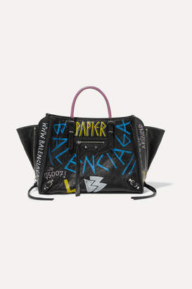 Balenciaga Papier Za A6 Graffiti Printed Textured-leather Tote - Black