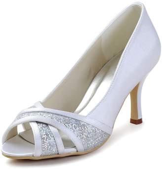 2fe70a86b0df5 Minishion GYAYL446 Womens Stiletto High Glitter Ivory Satin Evening Party Bridal  Wedding Sandal Shoes US 4.5