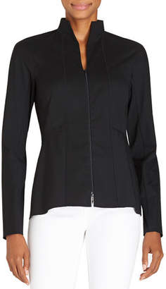 Lafayette 148 New York Kerry Zip-Front Blouse W/ Stand Collar