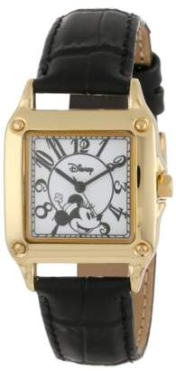EWatchFactory Disney Women's W000476 Minnie Mouse Gold-Tone Watch with Black Faux Leather Band