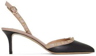 Valentino Black Garavani Rockstud Slingback Heels