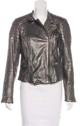 AllSaints Leather Metallic Jacket