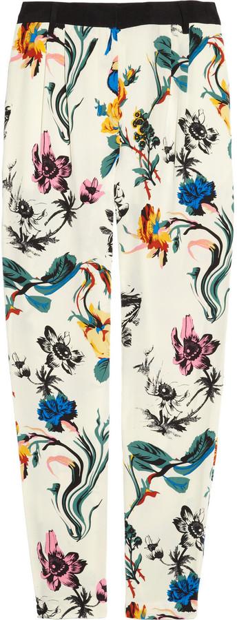Tibi Floral-print silk crepe de chine pants