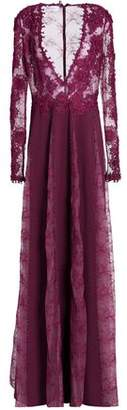 Zuhair Murad Embellished Guipure Lace And Silk-Blend Chiffon Gown