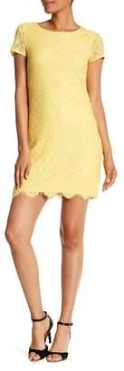 Laundry by Shelli Segal Short Sleeve Lace Shift Dress