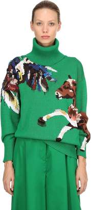 Krizia Oversize Intarsia Cotton Knit Sweater