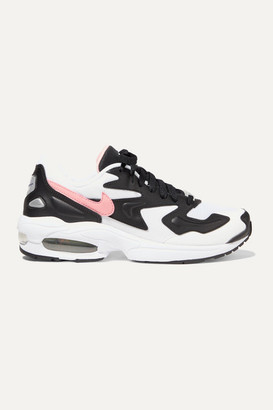 Nike Air Max2 Light Mesh, Faux Leather And Suede Sneakers - Black