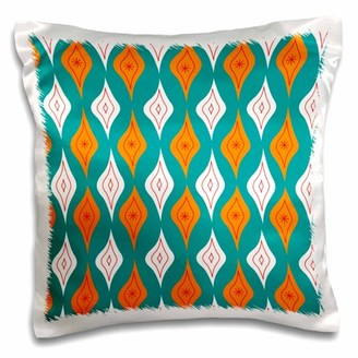 3dRose Wavy Diamonds in Teal and Orange - Pillow Case, 16 by 16-inch