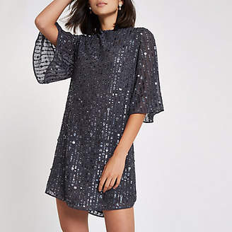 River Island Dark grey sequin swing dress