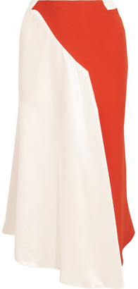 Mugler - Asymmetric Two-tone Crepe And Satin Skirt - White $2,225 thestylecure.com