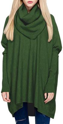 R & E Sexyshine Women's Cowl Neck Loose Oversized Knit Wool Pullover Sweaters(Gy)