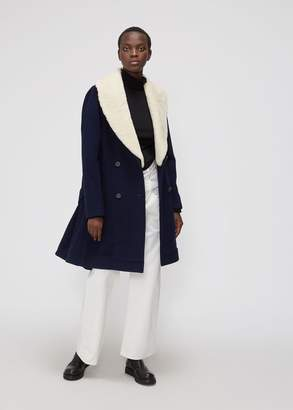 Shearling Collar Swing Coat