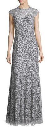 Shoshanna Cap-Sleeve Lace Gown, White/Black $495 thestylecure.com