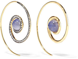Noor Fares - Spiral Moon 18-karat Gold, Diamond And Iolite Earrings