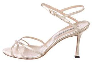 Manolo Blahnik Leather Ankle-Strap Sandals