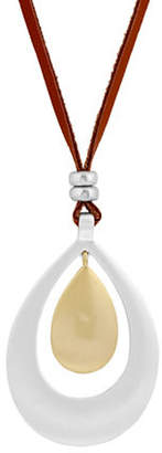 Lucky Brand Poets Garden Crystal and Leather Pendant Necklace