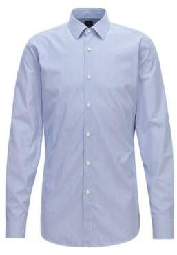 BOSS Hugo  Tailored slim-fit shirt in striped Italian cotton 16 Blue