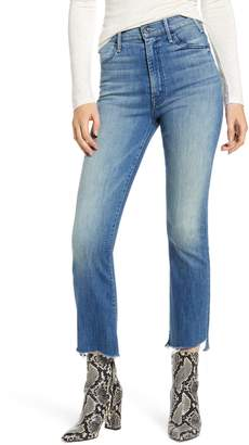 Mother The Hustler Two Step Fray High Waist Ankle Bootcut Jeans