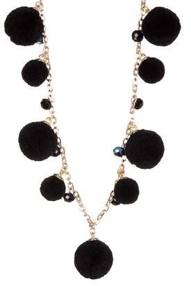 Natasha Accessories Long Pompom Bead Necklace