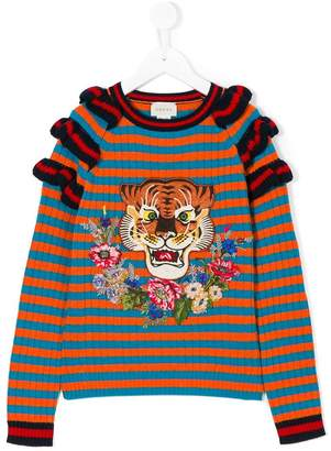 Gucci Kids striped lion jumper
