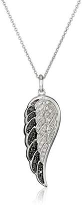 Sterling Silver Black and White Diamond Angel Wing Pendant Necklace (1/5 cttw)