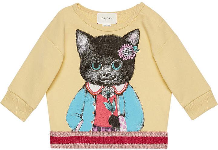 Gucci Kids Baby sweatshirt with kitten print